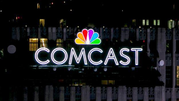 Comcast logo, one of the big companies providing broadband services.