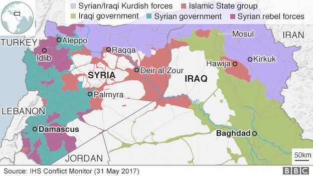 Map showing control if Iraq and Syria (31 May 2017)