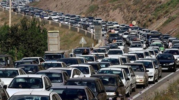 ترافیک نوروزی در جاده چالوس، شمال ایران