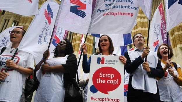 Nurses protested against the 1% public sector pay cap in June