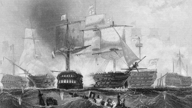 The French ship Redoutable engages the flagship of Admiral Lord Horatio Nelson, HMS Victory, at the Battle of Trafalgar; 21 Oct 1805 off Cape Trafalgar, Spain. Engraving by AH Payne from original painting by C Graham