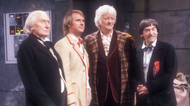 Richard Hurndall, Peter Davison, Jon Pertwee and Patrick Troughton in The Five Doctors