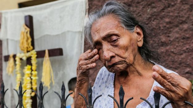 Una mujer anciana en Nicaragua.