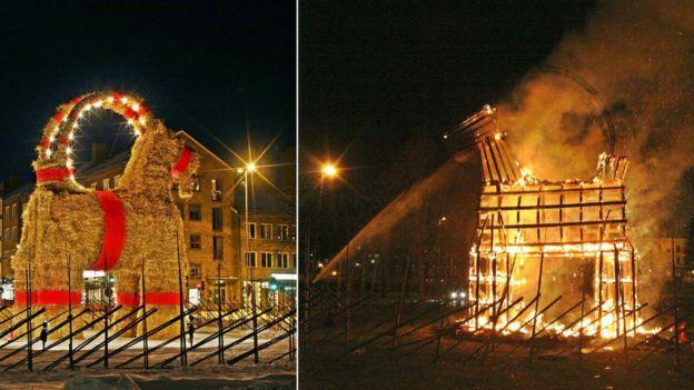 Cabra gigante / Escultura pegando fogo