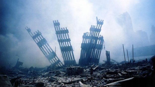 The ruins of the Twin Towers in New York, after the attack of September 11, 2011.