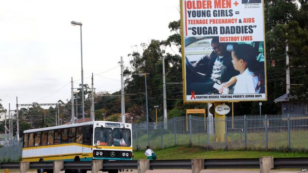 This picture taken on July 23, 2012 in Durban shows giant billboard highlighting the dangers for young women to have sex with older men. In South Africa, an increase in teenage pregnancies in eastern KwaZulu-Natal was blamed on older men seeking out younger women.