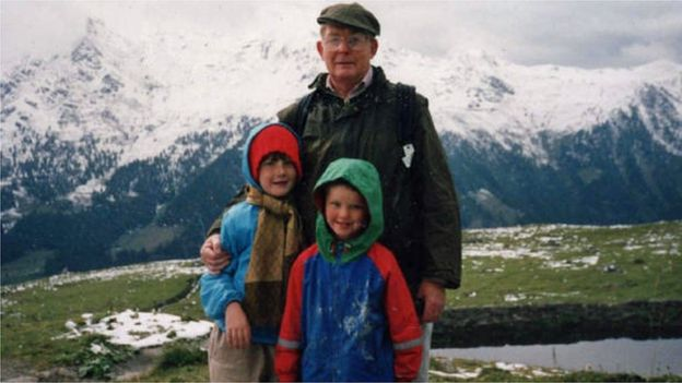 Reg Green in the Alps with Eleanor and Nicholas