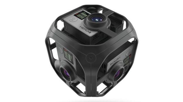 Dispositivo cuadrado con cámaras en cada uno de sus seis lados
