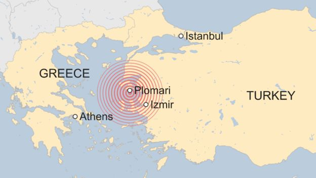 Map showing where earthquake struck