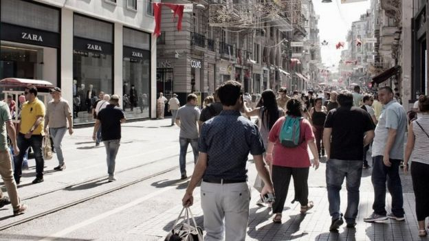 Passers-by on Istiklal Avenue in Beyoglu, Istanbul