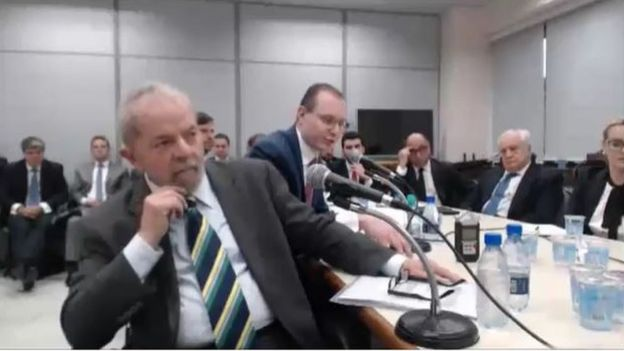 Ex-presidente Lula durante depoimento ao juiz Sérgio Moro