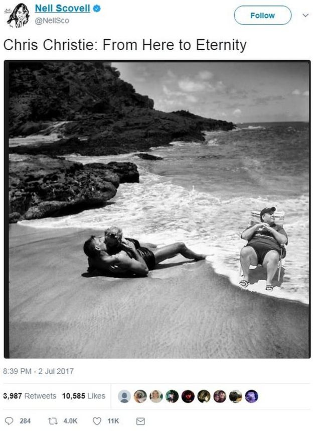 A black and white picture of Chris Christie lounging in a deckchair, superimposed on a scene from the film From Here to Eternity, where Burt Lancaster kisses Deborah Kerr in the surf