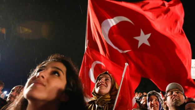 Supporters of Turkish President Tayyip Erdogan celebrate in Istanbul, 16 April