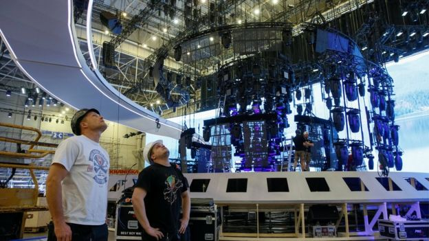 Workers prepare the stage for the Eurovision Song Contest 2017 at the International Exhibition Centre in Kiev, Ukraine, April 11, 2017