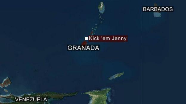 """Mapa que muestra la ubicación del volcán """"Kick 'em Jenny"""" con respecto a la isla de Granada. (Está a 8 kilómetros de la isla)"""