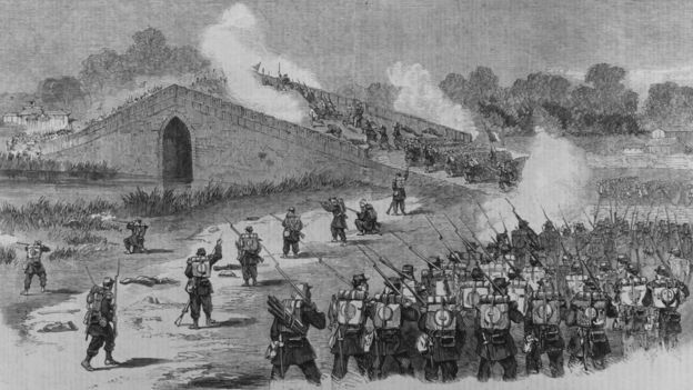 Soldiers of the French Foreign Legion attack on the bridge Pa-Li-Chian eight miles from Peking during the Second Opium War