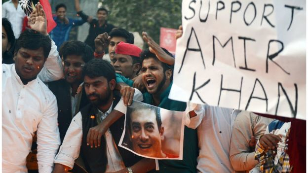 Indian activists from the Samajwadi Party shout slogans against central government, and in support of Bollywood actor Amir Khan, who has spoken against what he has called growing intolerance and insecurity in India, in Allahabad on November 26, 2015. AFP PHOTO / SANJAY KANOJIA / AFP / Sanjay Kanojia (Photo credit should read SANJAY KANOJIA/AFP/Getty Images)