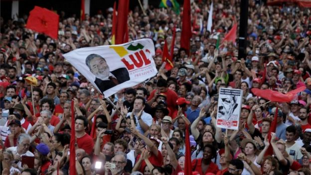 Supporters of former Brazilian President Luiz Inacio Lula da Silva attend a rally in support of Lula da Silva candidacy to the 2018 presidential race, in Porto Alegre, Brazil January 23, 2018