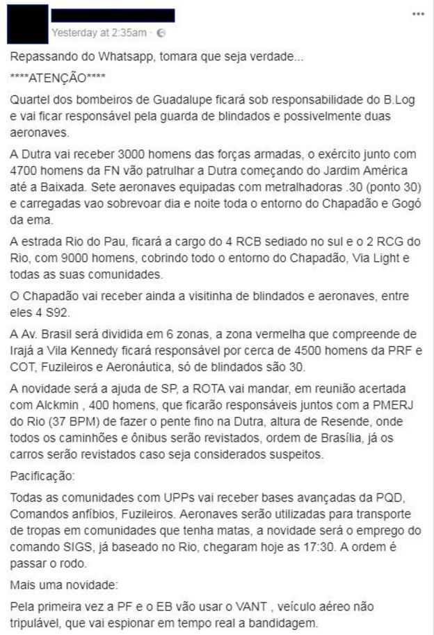 Fake news sobre intervenção federal no RJ