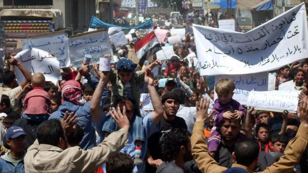 Protests in Deraa.