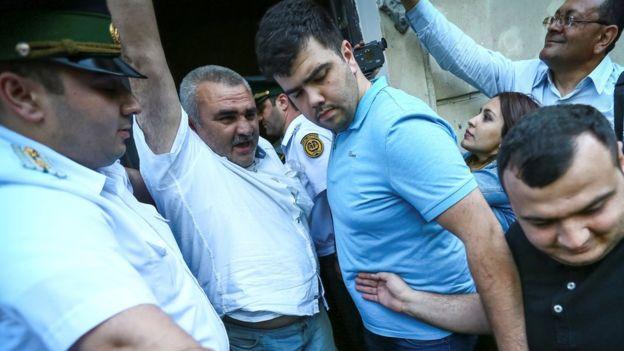 Afgan Mukhtarli in custody in Baku, 31 May 17