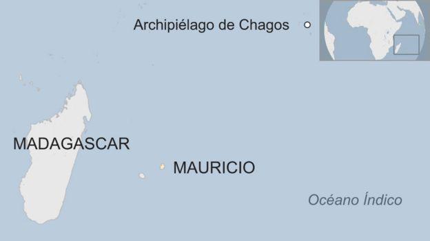 Mapa que muestra las Islas Chagos en el Océano Índico