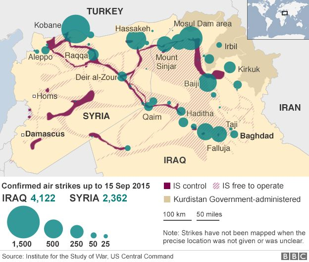 Map showing air strikes against targets in Iraq and Syria