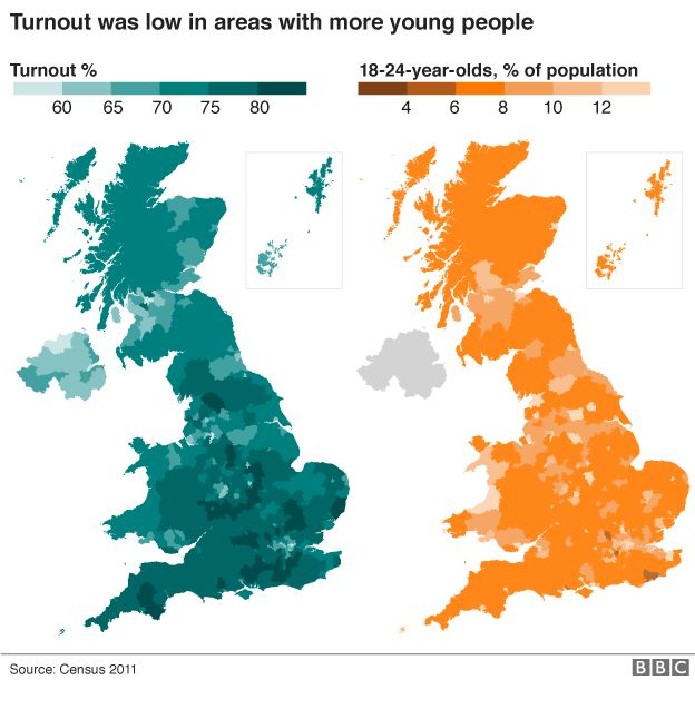 Brexit How Much Of A Generation Gap Is There BBC News - Election turn out us map