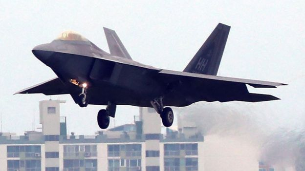 A US Air Force F-22 Raptor lands at Gwangju airbase, South Korea, 16 May 2018