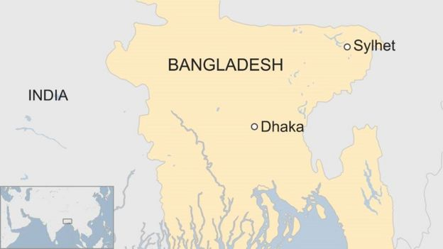 Sylhet blasts kill six amid bangladesh militant raid bbc news map of bangladesh showing sylhet in the north east and dhaka in the centre east gumiabroncs Image collections