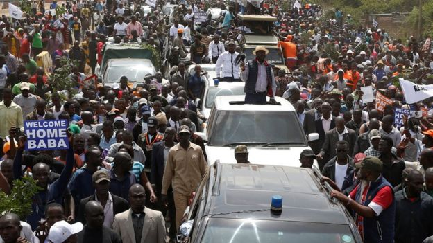 Kenyan opposition leader Raila Odinga of the National Super Alliance (NASA) coalition is welcomed by his supporters upon his return in Nairobi, Kenya on 17 November 2017
