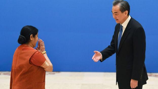 印度外交部长苏斯马•斯瓦拉杰(Sushma Swaraj)和中国外交部长、新上任的国务委员王毅