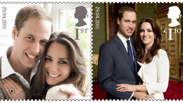 Las estampillas con las fotos e compromiso del príncipe William y Kate Middleton.