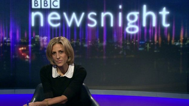 Emily Maitlis on the set of Newsnight