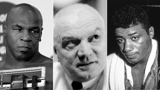D'Amato (centro) entrenó también a Floyd Patterson (derecha) quien había sido el campeón más joven hasta la irrupción de Tyson.