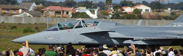 One of the Saab Gripen fighter jets, bought by the South African Airforce, as part of the country's controversial arms deal - Cape Town, South Africa, 2006