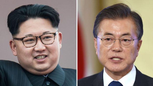 Kim Jong-un (izquierda) y Moon Jae-in.