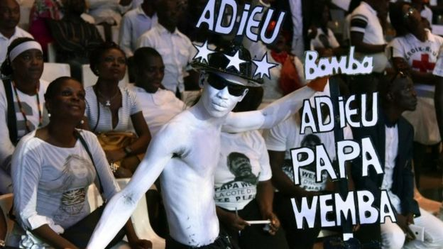 Fans of the late Papa Wemba, attend a concert in tribute to him on April 27, 2016 at the Palace of Culture in Abidjan