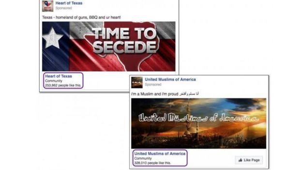 Reprodução de propaganda no Facebook usada para influenciar as eleições nos EUA