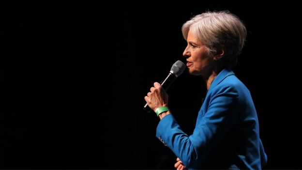 Green party nominee Jill Stein speaks during a campaign rally in New York City, 12 October