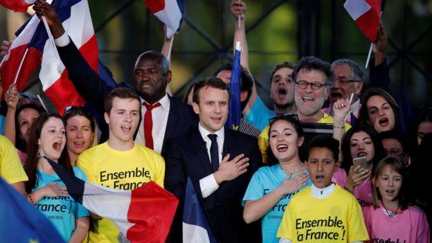Emmanuel Macron en campaña