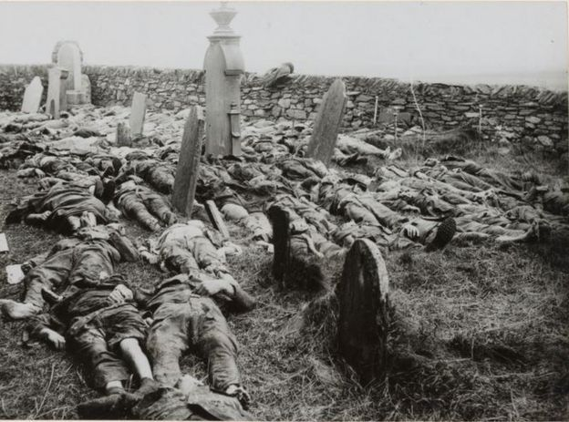 Victims of the Otranto disaster. American soldiers laid out for burial in the churchyard at Kilchoman, Islay, Scotland. The church was used as a temporary morgue