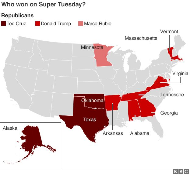 US Election Super Tuesday Results BBC News - Us election 2016 results map