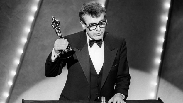 Milos Forman with his second best director Oscar for Amadeus in 1985