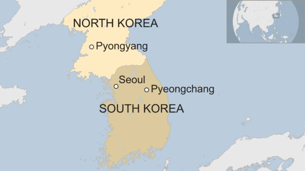Map of North Korea and South Korea, showing Pyeongchang