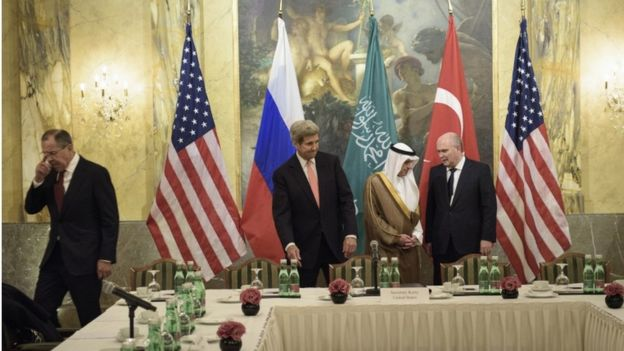 From left: Russian Foreign Minister Sergei Lavrov, US Secretary of State John Kerry, Saudi Foreign Minister Adel al-Jubeir and Turkish Foreign Minister Feridun Sinirlioglu at Vienna talks on Syria, 29 October 2015