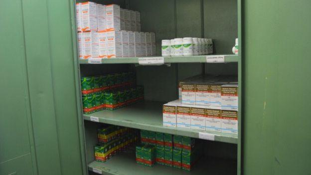 Armário de remédios para vírus do HIV