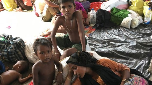 A newly arrived Rohingya family in Bangladesh