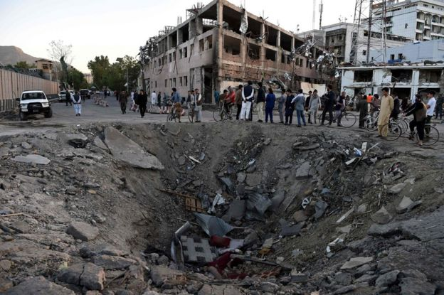 Bomb crater in Kabul, 31 May