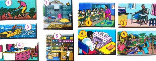 Profesiones por género en un texto escolar en Kenia.